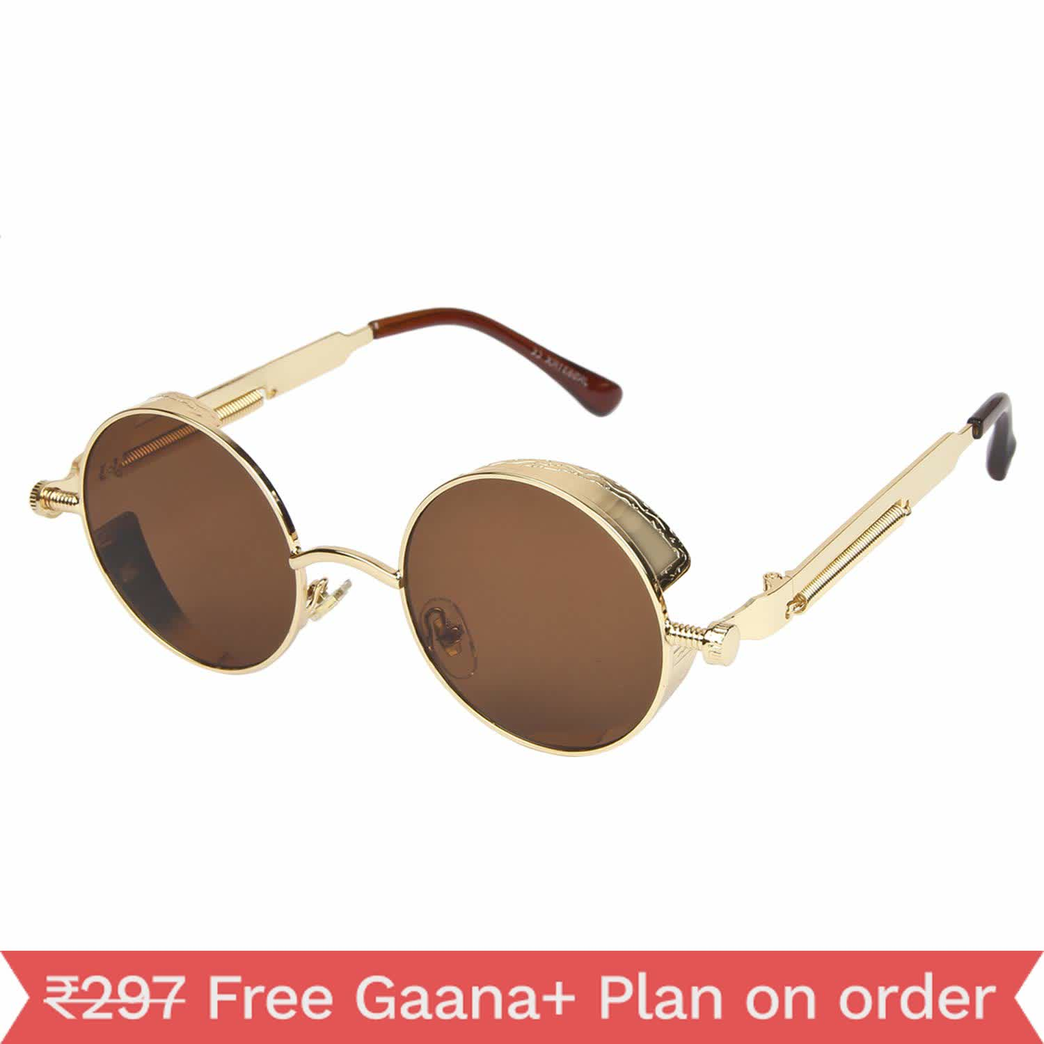Arzonai Brown Steampunk Metal Sunglasses For Men And Women