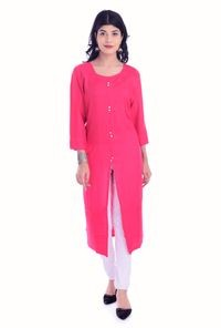Fab Attire Pink Cotton Kurti For Women