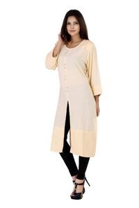 Fab Attire Beige Rayon Kurti For Women