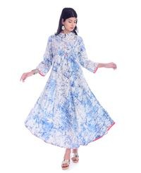 Fab Attire Blue Cotton Kurti For Women