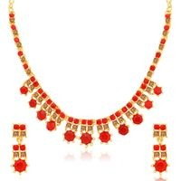 Sukkhi Attractive LCT and Red Stone Gold Plated Necklace Set for Women