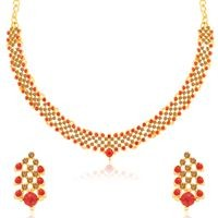 Sukkhi Ethnic LCT and Red Stone Gold Plated Necklace Set for Women