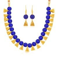 Sukkhi Classy Gold plated Blue Necklace Set for Women
