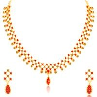 Sukkhi Astonish LCT and Red Stone Gold Plated Necklace Set for Women