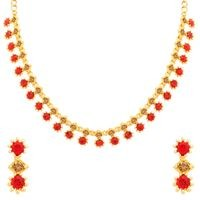 Sukkhi Precious LCT and Red Stone Gold Plated Necklace Set for Women