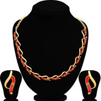 Sukkhi Fancy LCT and Red Stone Gold Plated Necklace Set for Women