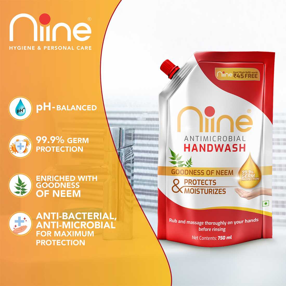 Niine Handwash Spout for 99.9% germ protection and enriched with goodness of Neem, 750ml Spout & 180 ml Refill (Combo pack)-Pack of 2