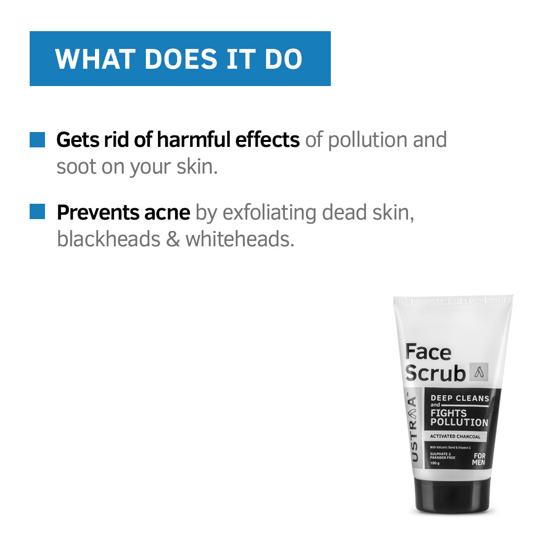 Ustraa Activated Charcoal Face Scrub - 100g