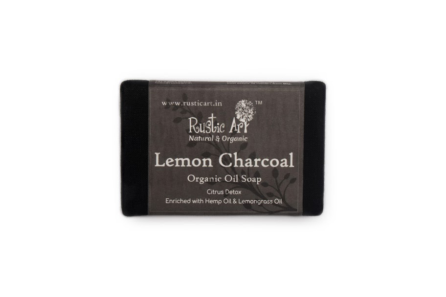 Rustic Art Organic Soap - 100 GM, Lemon Charcoal
