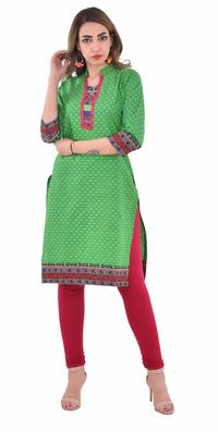 Nakoda Creation Women Green Printed Straight Kurti