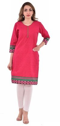 Nakoda Creation Women Pink Printed Straight Kurti