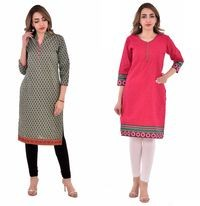Nakoda Creation Women Multicolor Printed Straight Kurti Combo Pack of 2