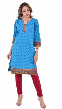 Nakoda Creation Women Blue Printed Straight Kurti