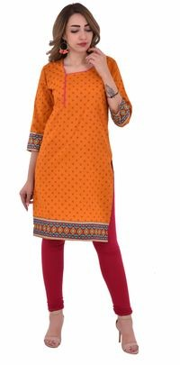 Nakoda Creation Women Orange Printed Straight Kurti