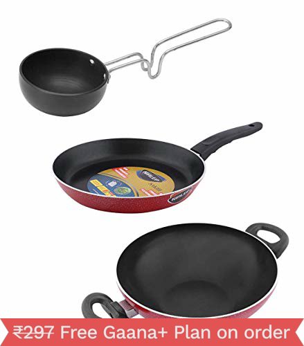 Nirlep Sakhi Dura Pan Without Lid 21+Non Stick Kadhai 18 cm+Hard Anodized Tadka Pan Combo Pack