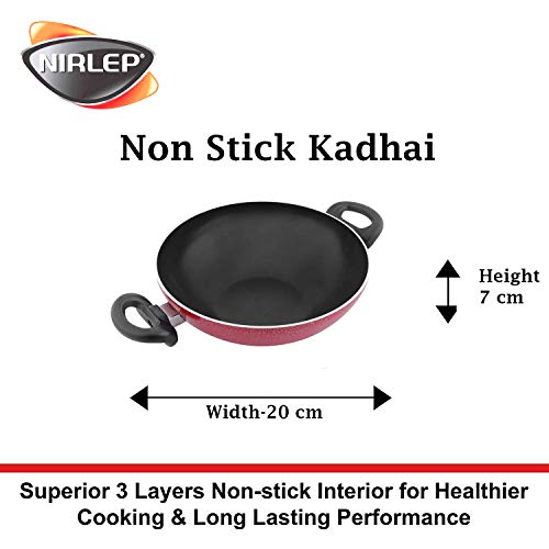 Nirlep Non Stick Kadhai with Two Minutes Fry Pan 16cm Combo Pack