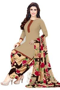 Venisa New Fashion Party Wear Leon Red Color Printed Unstitched Dress Material With Beautiful Printed Chiffon Dupatta
