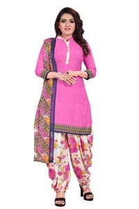 Venisa New Fashion Party Leon Pink Cream Color Printed Unstitched Dress Material With Beautiful Printed Chiffon Dupatta