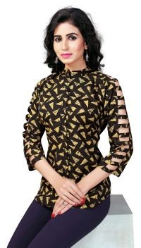 Venisa New Fashion Party Wear Rayon Yellow Color Shirt Style Designer Western Top For Women