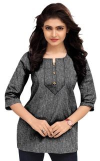 Venisa Exclusive Party Wear Cambric Cotton Grey Color Short Kurti Type Designer Western Top For Women