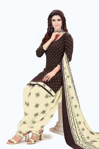 Venisa Fancy Look Party Wear Leon Brown Color Printed Unstitched Dress Material With Beautiful Printed Chiffon Dupatta