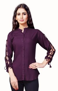 Venisa New Arrival Party Wear Pure Rayon Majanta Color Shirt Style Designer Western Top For Women