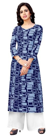 Venisa Exclusive Party Wear Rayon Blue Color Designer Kurtis For Women