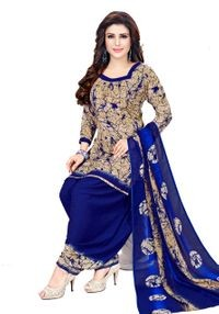 Venisa Exclusive Party Wear Leon Blue Color Printed Unstitched Dress Material With Beautiful Printed Chiffon Dupatta