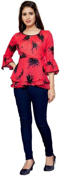 Venisa Beautiful Party Wear Geogette Red Color Designer Western Top For Women