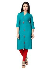 Venisa New Style Party Wear Pure Rayon Turquoise Blue Color Plain Designer Kurtis For Women