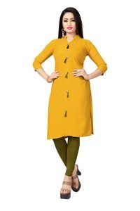 Venisa Rich Look Party Wear Pure Rayon Yellow Color Plain Designer Kurtis For Women