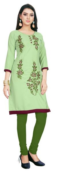 Venisa New Fashion Party Crepe Green Color Floral Embroidered Designer Kurtis For Women