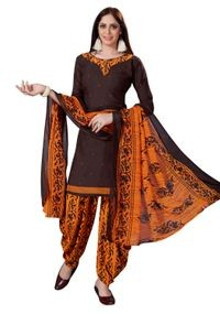 Venisa Exclusive Party Wear Leon Brown Color Printed Unstitched Dress Material With Beautiful Printed Chiffon Dupatta