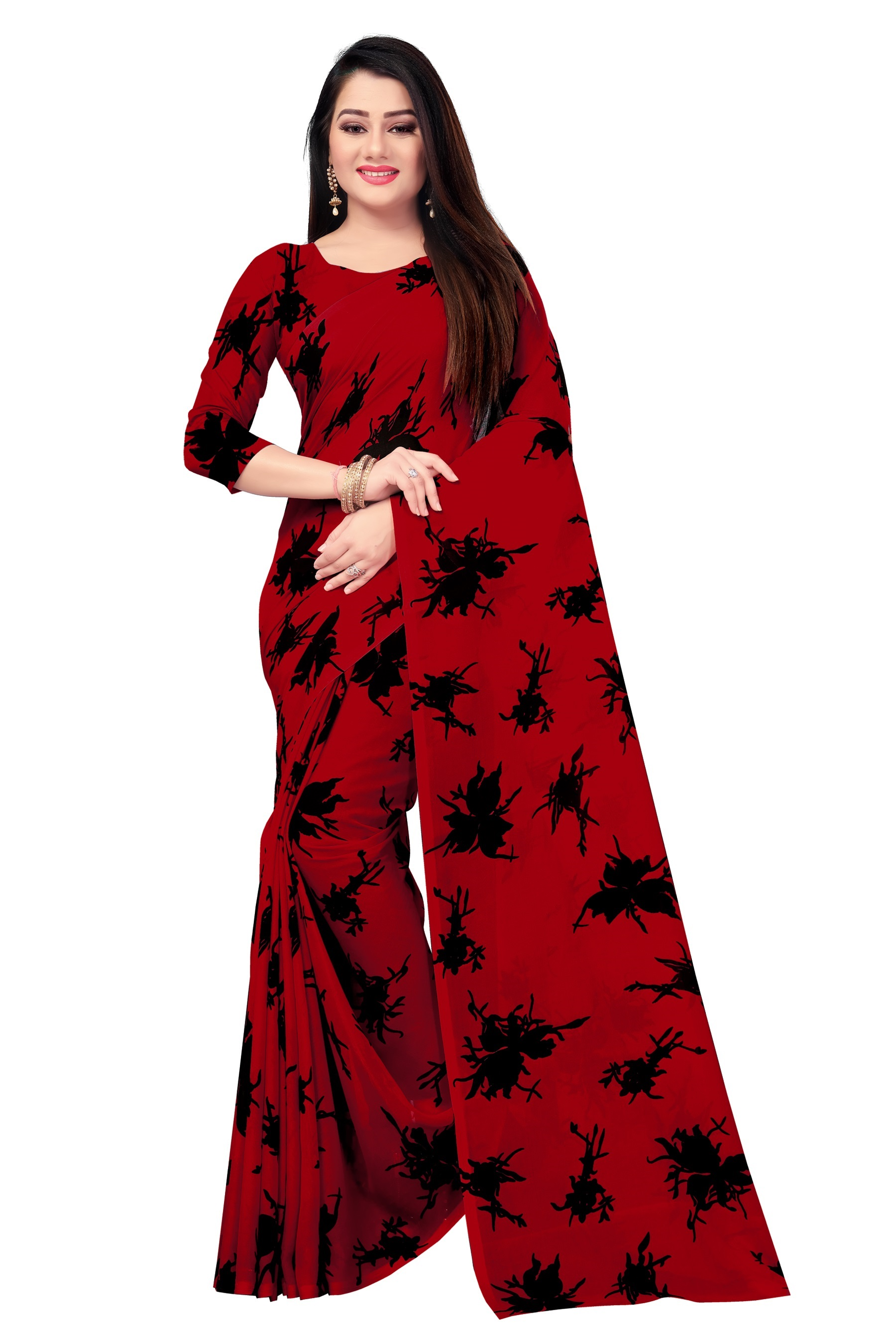 Venisa Exclusive Party Wear Geogette Maroon Red Color Floral Print Designer Saree For Women