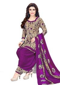 Venisa Beautiful Party Wear Leon Purple Color Printed Unstitched Dress Material With Printed Chiffon Dupatta
