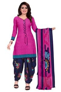 Venisa Wonderful Party Wear Leon Pink Navy Blue Color Printed Unstitched Dress Material With Beautiful Printed Chiffon Dupatta