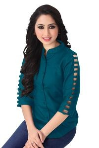Venisa Fancy Look Party Wear Pure Rayon Turquoise Blue Color Shirt Style Designer Western Top For Women