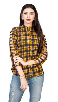 Venisa Fancy Look Party Wear Pure Rayon Yellow Color Shirt Style Designer Western Top For Women