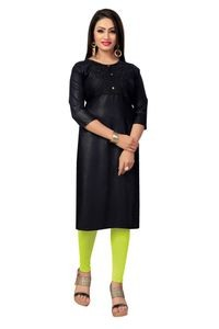 Venisa Beautiful Party Wear Rayon Black Embroidered Designer Kurtis For Women