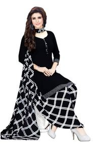 Venisa Rich Look Party Wear Leon Black Color Printed Unstitched Dress Material With Beautiful Printed Chiffon Dupatta