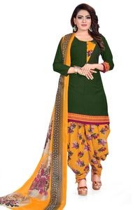 Venisa New Fashion Party Leon Green Yellow Color Printed Unstitched Dress Material With Beautiful Printed Chiffon Dupatta