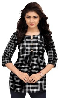 Venisa Wonderful Party Wear Cambric Cotton Black Color Short Kurti Type Designer Western Top For Women