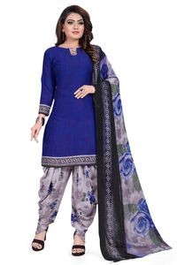 Venisa Wonderful Party Wear Leon Royal Blue Color Printed Unstitched Dress Material With Beautiful Printed Chiffon Dupatta