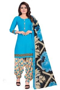 Venisa Wonderful Party Wear Leon Blue Beige Color Printed Unstitched Dress Material With Beautiful Printed Chiffon Dupatta