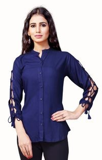 Venisa Hot Fashion Party Wear Pure Rayon Blue Color Shirt Style Designer Western Top For Women