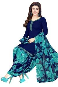Venisa Exclusive Party Wear Leon Navy Blue Color Printed Unstitched Dress Material With Beautiful Printed Chiffon Dupatta