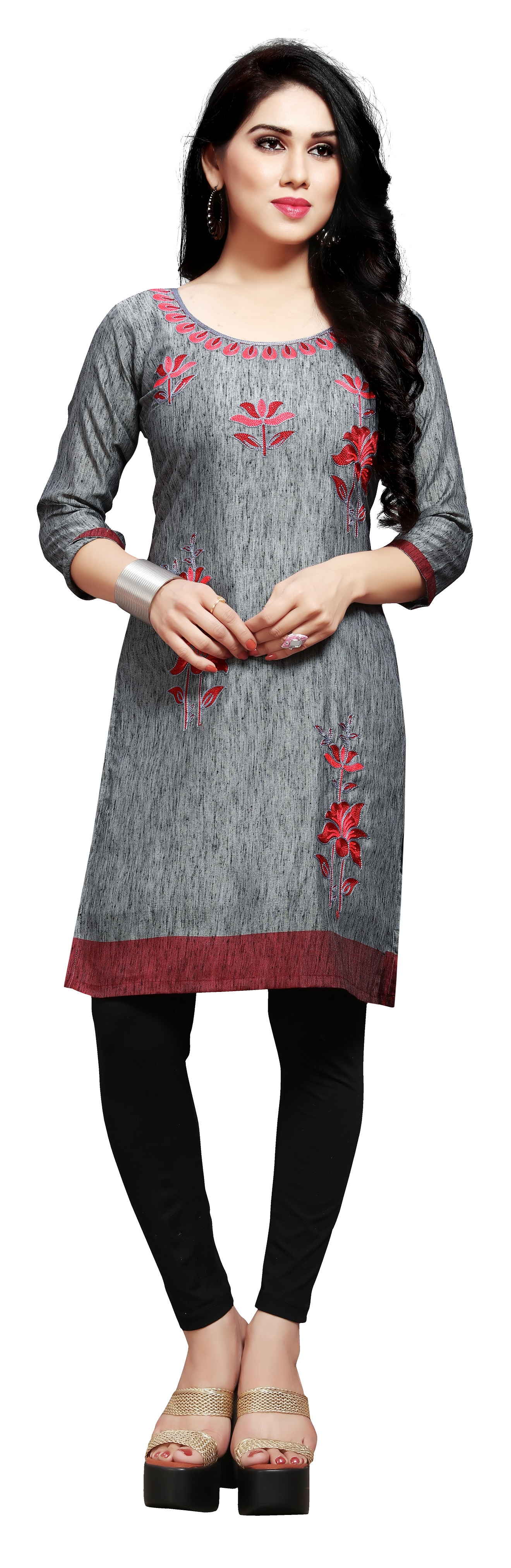 Venisa Wonderful Party Wear Pure Linen Grey Color Floral Embroidered Designer Kurtis For Women