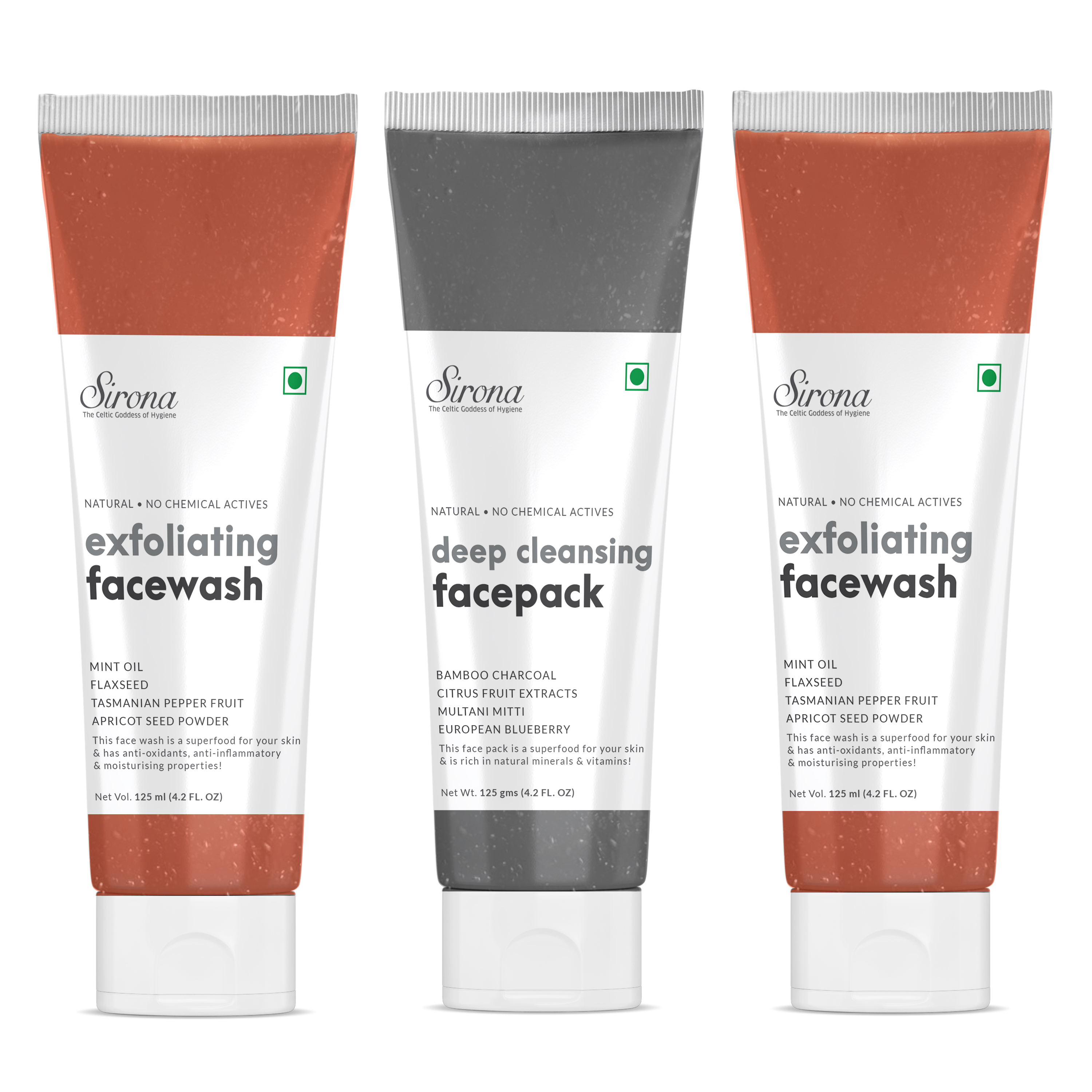 Sirona Natural Exfoliating Face Wash Facial Cleaner With Apricot & Flaxseed Extracts - 125 ml (Pack of 2) with free Natural Activated Bamboo Charcoal Deep Cleansing Face Pack - 125 gm