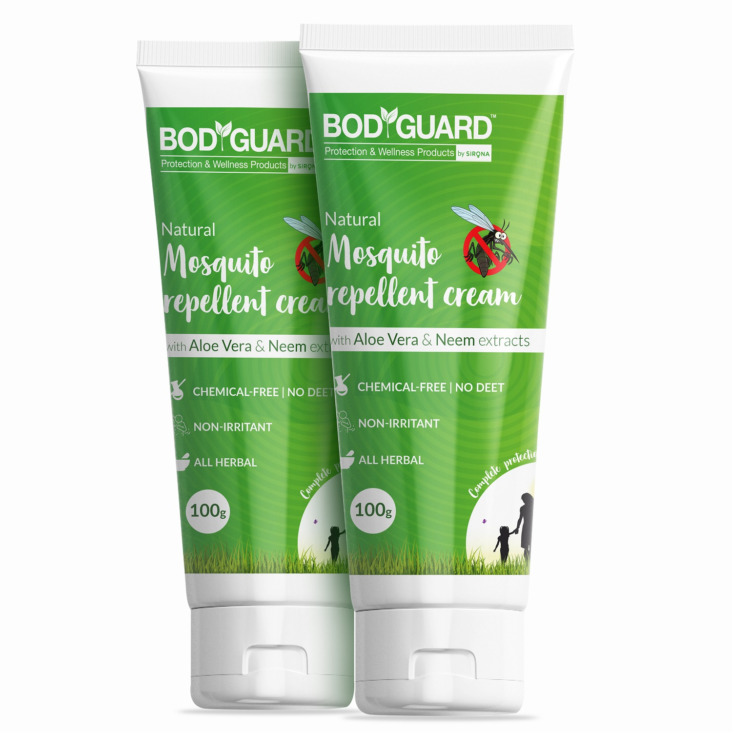 BodGuard Natural Mosquito Repellent Cream with Aloe Vera and Neem Extracts - 100 gm (Pack of 2)