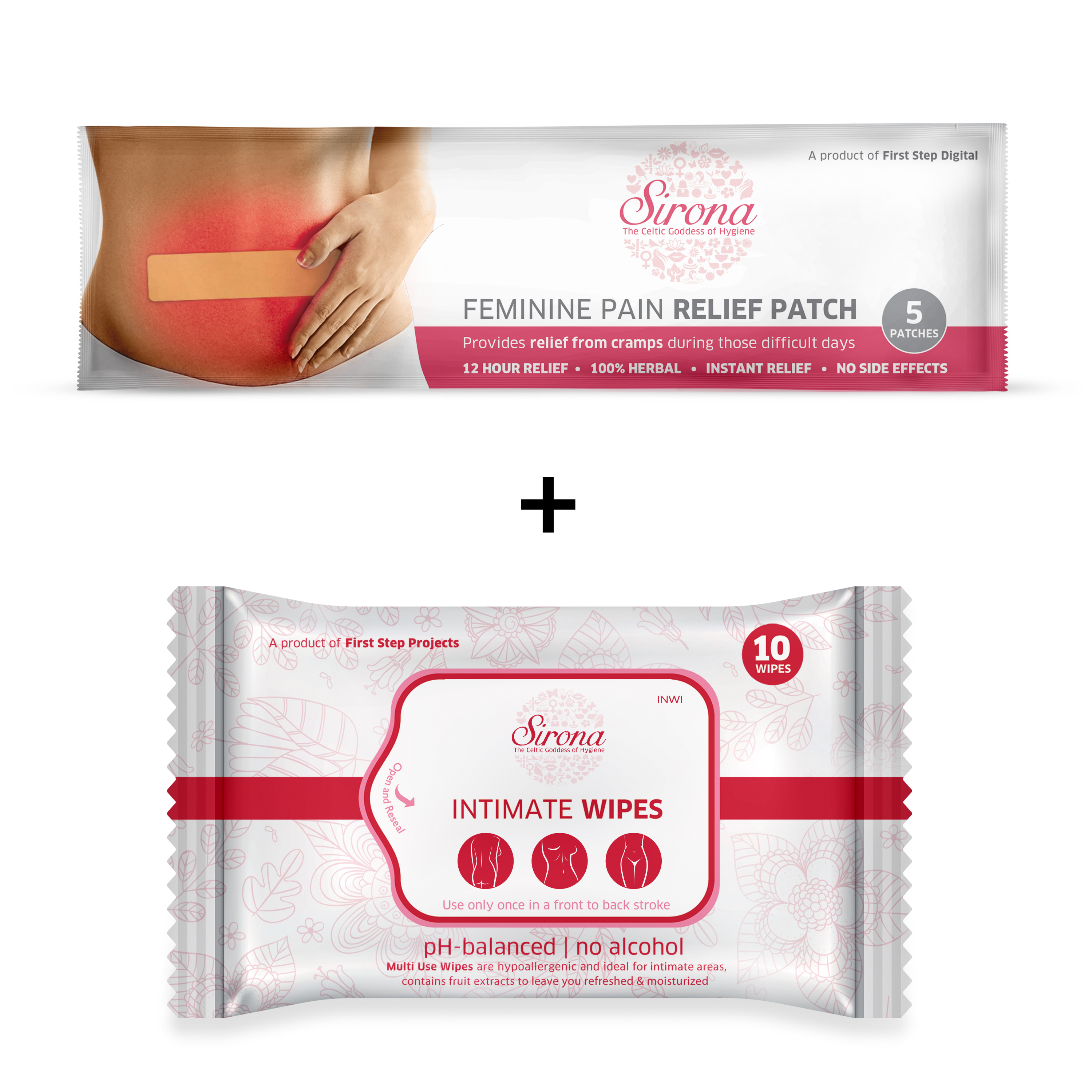 Sirona Feminine Pain Relief Patches for Period Pain - 5 Patches with Intimate Wipes for Clean your Intimate Area - 10 Wipes